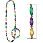 Gold, Green and Purple Mardi Gras Swirl Beads/Bracelet Set