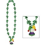 Mardi Gras Jester Beads with Jester Medallion (1/pkg)