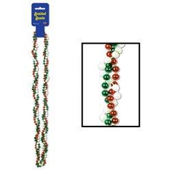 Red, White and Green Braided Beads