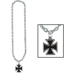 Chain Beads with Black Iron Cross Medallion (1/pkg)