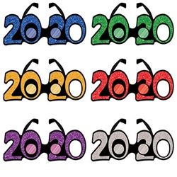 2020 Glittered Plastic Eyeglasses 12 Pack - Celebrate 2020 in style with your friends when you order this 12 pack of assorted color 2020 glasses.  Each 12 pack comes with two each Gold, Silver, Blue, Green, Purple and Red glasses.