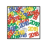 A mix of metallic green, gold, blue, silver, and red 3/4 inch 2018 silhouettes that would look great scattered across a table or in a party favor bag! 