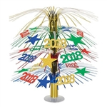 "This 2018 Cascade Centerpiece has a gold foil center with blue, red, and green metallic fronds spraying from the center with ""2018"" and star icons attached in assorted color foils. Measures 18 inches tall after simple assembly. One per package."