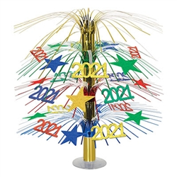 2021 will be here before you know it, plan your New Year's Eve celebration now.  Adding this colorful and kinetic 2021 Cascade Centerpiece to your decor could be one of the best decisions of 2020!  Stands a full 18 inches tall.  Simple assembly required.