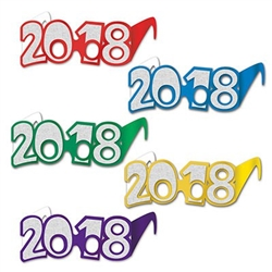 Happy New Year or Happy Graduation! You'll be stylish when you don a pair of these 2018 Glittered Foil Eyeglasses! These printed foil card stock eyeglasses come 1 pair per package and are available in several colors. No color choice available. No returns.