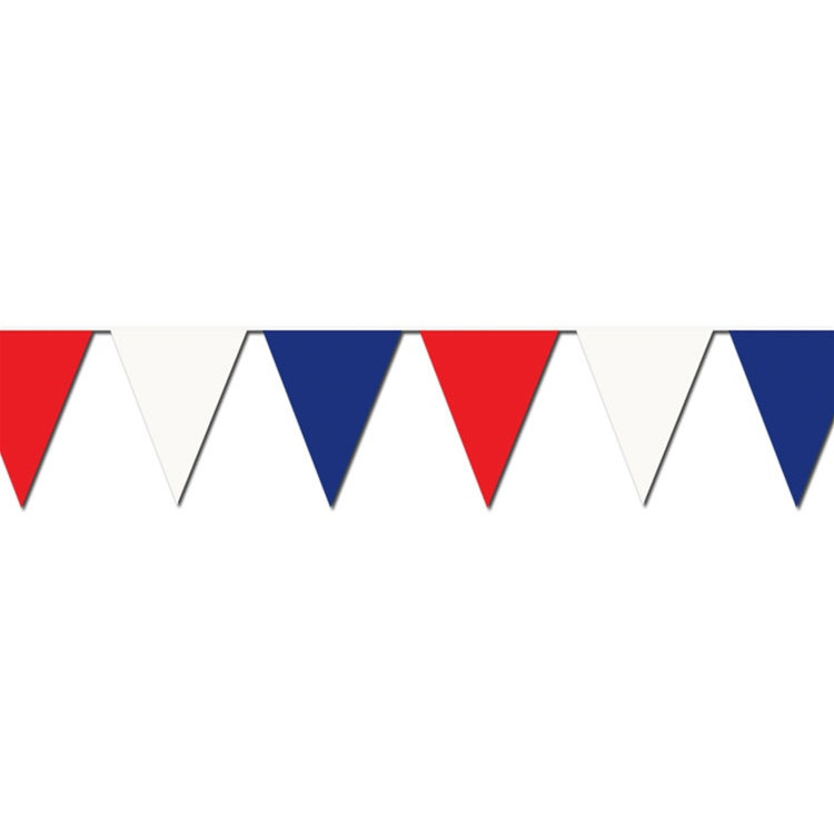 Red White Blue Outdoor Pennant Banner, 120 feet - PartyCheap