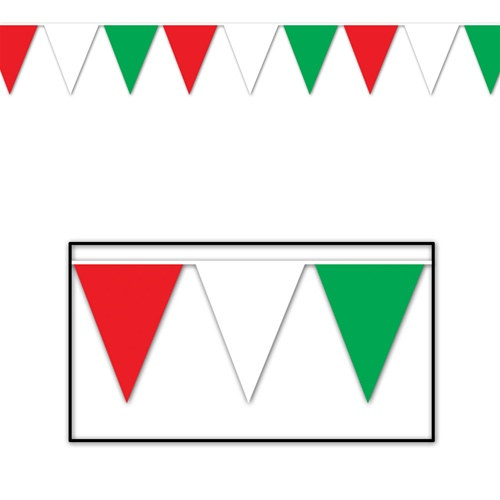 Red, White, and Green Outdoor Pennant Banner, 120 ft - PartyCheap