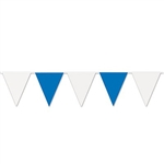 The Blue & White Pennant Banner measures 30 feet long and has alternating blue and white pennant flags. Each banner consists of 15 pennants that measure 18 inches in length. Perfect for Oktoberfest or any indoor or outdoor event!