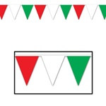 Red, White, and Green Outdoor Pennant Banner, 30 ft