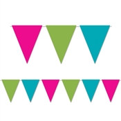 Cerise, Light Green, and Turquoise Indoor/Outdoor Pennant Banner