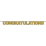 "Say Congratulations in a BIG WAY with this huge 11.5' long, 8.5"" tall Congratulations Streamer!  Simple assembly and easy hanging will make this gold glittered streamer a central part of your party decorations!"