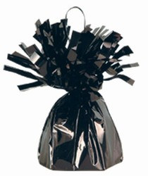 Black Metallic Wrapped Balloon Weight, 6 ounces (1/pkg)