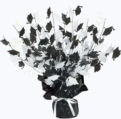 Black and White Gleam n Burst Graduate Cap Centerpiece