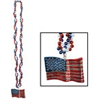 Braided Beads with American Flag Medallion (1/pkg)