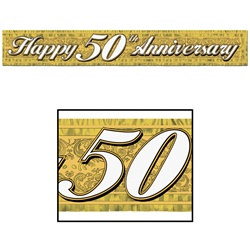 50th Metallic Anniversary Banner