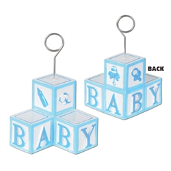 Light Blue Baby Blocks Photo/Balloon Holder