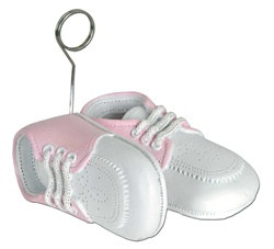 Pink Baby Shoes Photo/Balloon Holder