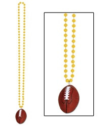 Gold Beads with Football Medallion (1/pkg)