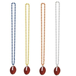 Beads with Football Medallion (Select Color)