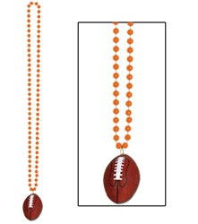 Orange Beads with Football Medallion (1/pkg)
