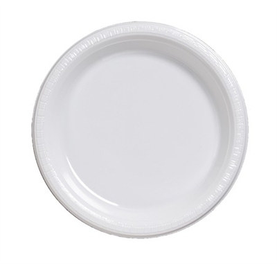 White Plastic Lunch Plates (20/pkg)