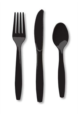 Black Assorted Cutlery (24/pkg)