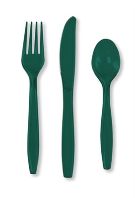 Hunter Green Assorted Cutlery (24/pkg)