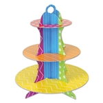 Arrange the scrumptious cupcakes on this fun and colorful Dots & Stripes Cupcake Stand. This colorful stand features fun shades of red, blue, green, purple, orange and white, not to mention dots, stripes and lines. Stands 13.5 inches tall. One per pack.