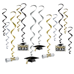 Celebrate the recent graduate's hard work over the years by throwing an awesome, fun-filled graduation party! Each whirl will measure anywhere from 17-28.5 inches. The whirls come completely assembled and 12 pieces per package.