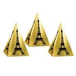 These metallic gold foil card stock favor boxes feature the Eiffel Tower printed in black.  After some simple assembly,  favor box measures 4-1/4 inches high and the base is 2-7/8 inches wide. Each package includes 3 favor boxes.