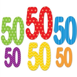 Each 50 Cutouts package contain 6 cutouts with 3 different pairs of sizes. All are different colors and designs. Made of cardstock material and printed on both sides.