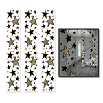 Add some emphasis on star quality at an awards night or Hollywood theme party by decorating with these fancy Star Party Panels. The panels feature black and gold stars of varying sizes. Each panel measures 12 inches wide by six feet tall. Comes 3 per pack