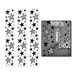 Printed on a near-transparent background, these Star Party Panels feature black and silver stars of varying sizes and measure six feet tall by 12 inches wide making them ideal to hang on the wall or ceiling. Comes three panels per package.