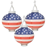 Light up your 4th of July party with these Light-Up Patriotic Paper Lanterns. These lanterns also have a battery-operated light in them, but keep in mind that batteries are not included in this package. Comes three lanterns per package.