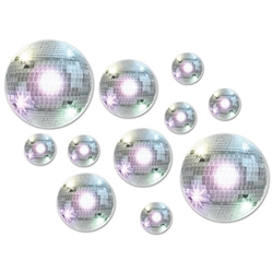 A shiny Disco Ball Cutout printed on double sided card stock material, great for hanging on walls and doors at a retro or disco party. You get 20 different sized ball cutouts in each package.