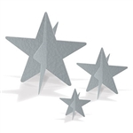 Made from foil cardstock, these shiny 3-D Foil Star Centerpieces come in three sizes ranging from 3 inches to 8 inches and can be used to create dazzling table displays. Some simple assembly is required.