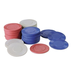 Go all in at your poker night with these plastic Poker Chips. Give each chip a dollar amount and play whatever card game is on tap for the evening. This package comes with 50 gray chips, 25 red chips and 25 blue chips. That is 100 chips total.