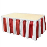 Red & White Stripes Table Skirting