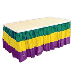 Decorate for Mardi Gras in a big way by covering all the tables at your home, restaurant or classroom with this colorful Mardi Gras Table Skirting. The tablecover is made of superior quality and is even moisture and fade resistant.