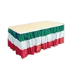 The Red, White, & Green Table Skirting is made of a durable moisture and fade resident plastic material. It measures 29 inches by 14 feet. Comes one (1) per package.