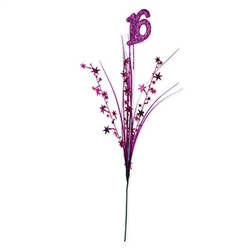 "Celebrate a special 16th birthday by accessorizing your centerpieces with this Glittered ""16"" Metallic Star Spray. It's a metallic cerise color and the glittered ""16"" icon makes for an eye catching decoration! Measures 23 inches tall."