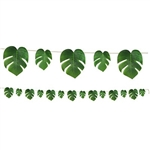 Tropical Palm Leaves Streamer will add a touch of the tropics to any event. These realistic polyester fabric leaves are attached to a 9 foot natural string cord. Perfect for any jungle, dinosaur or luau theme party. One fully assembled streamer per pkg.