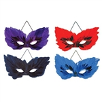 The Feather Masks are a beautiful way to hide your identity. Perfect for Mardi Gras or a masquerade ball, these feathered and sequined masks will delight the guests. Each package contains 4 masks: 1 each of blue, red, purple, and black. No returns.