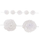 Add some sophistication to your upcoming party with this White Tissue Flower Garland. The tissue garland measures eight feet in length and features multiple tissue flowers attached to the white satin ribbon. Simple assembly required.