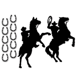 These Western Silhouettes would look great on any wall! Printed on card stock, there are ten 4-1/2 inch horseshoe silhouettes and two different mounted cowboy silhouettes measuring 26 and 29 inches in the package.