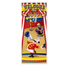 Let your guests know that there's a circus theme party behind the door with this colorful Circus Tent Door Cover. It measures six feet tall by 30 inches wide and features some fun, traditional circus characters. Made of all-weather material. One per pack.