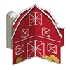 A colorful red 3-D Barn Centerpiece featuring a silo and hay bales printed on double sided card stock material. Assembles to have four sides and look 3-D!