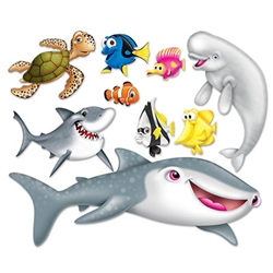 Decorate for an under the sea or nautical party with our colorful and fun Under The Sea Props. There are props of a shark, fish and a turtle, among a few other under the sea friends. There are nine Under The Sea props included in the package.