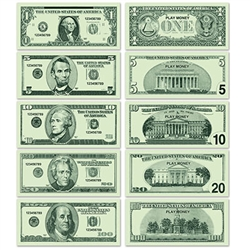 This printed paper Casino Play Money is great to hand out at your casino theme party or poker night.  Each package contains twenty pieces of each denomination, for a total of 100 bills. Hold no actual monetary value.