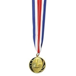 The 1st Place Medal w/Ribbon is your standard award ribbon and medal. Each 2 inch replica gold medal is engraved with 1st and is attached to a 32 inch red, white, and blue neck ribbon. Ribbon forms a 16 inch loop for placing around a neck.